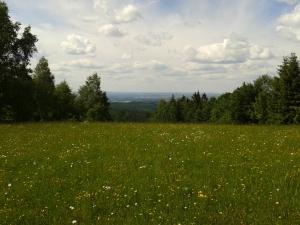 Die Aussicht von oben ist wirklich schön, zu sehen Tirschenreuth und ähm, diverse Berge dahinter