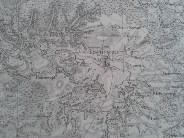 """Ausschnitt aus dem topographischen Atlas, Blatt """"Tirschenreut"""", Nachdruck des Originals von 1826."""